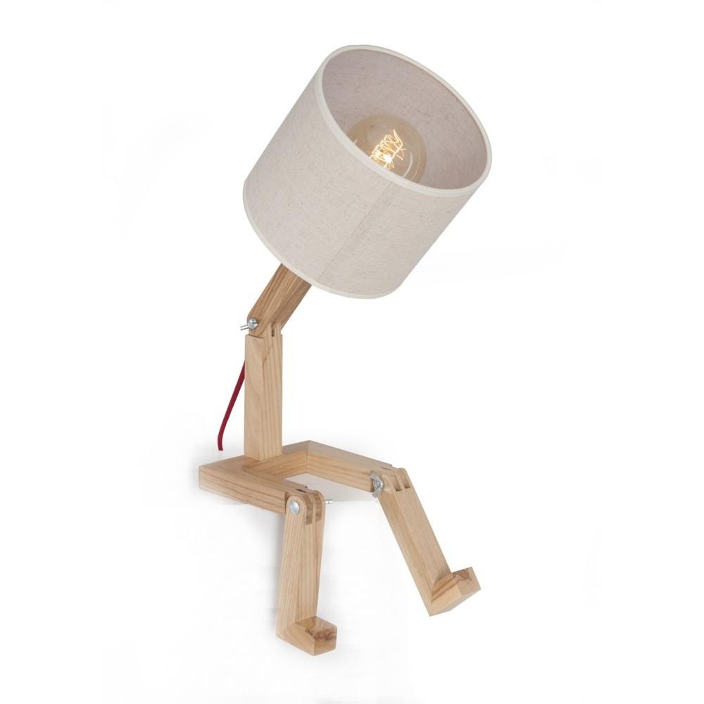 Stolová lampa s drevenou základňou Fabiana