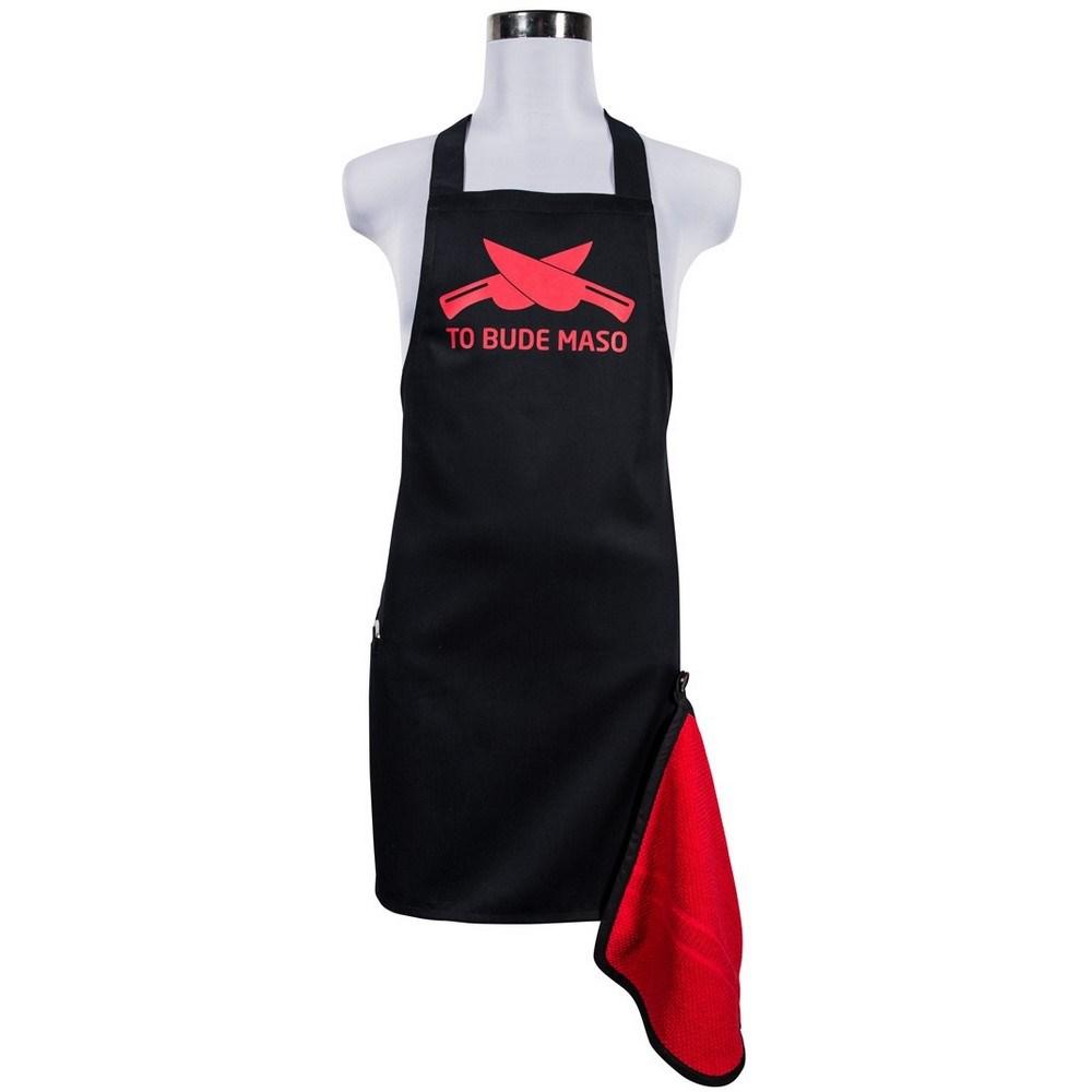 Šik v kuchyni pánska zástera s otváračom To bude mäso červená, 22,5 x 75 cm