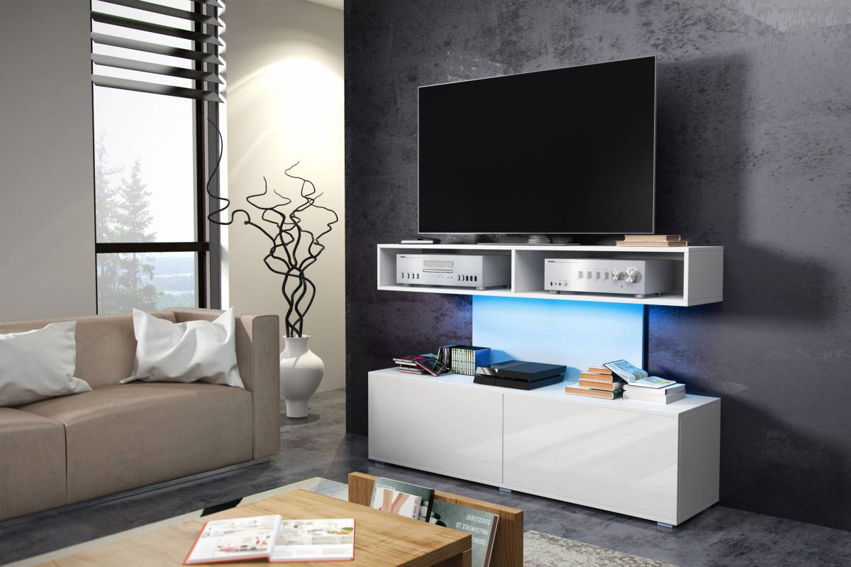 TV stolík/skrinka Rex (biela + lesk biely)