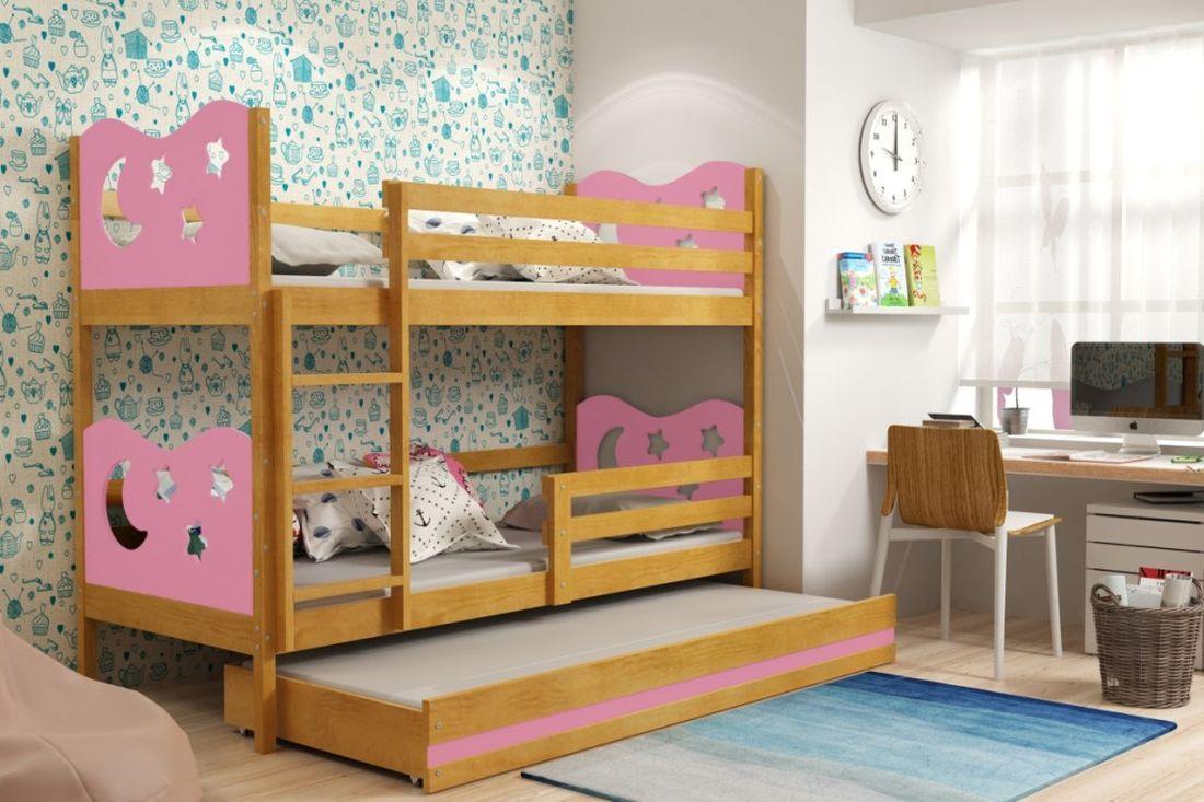Poschodová posteľ KAMIL 3 + matrac + rošt ZADARMO, 80x190, jelša/ružová