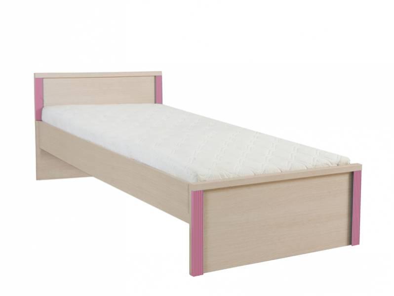 Jednolôžková posteľ Caps LOZ/90   Farba: dub jasný belluno/ ružová