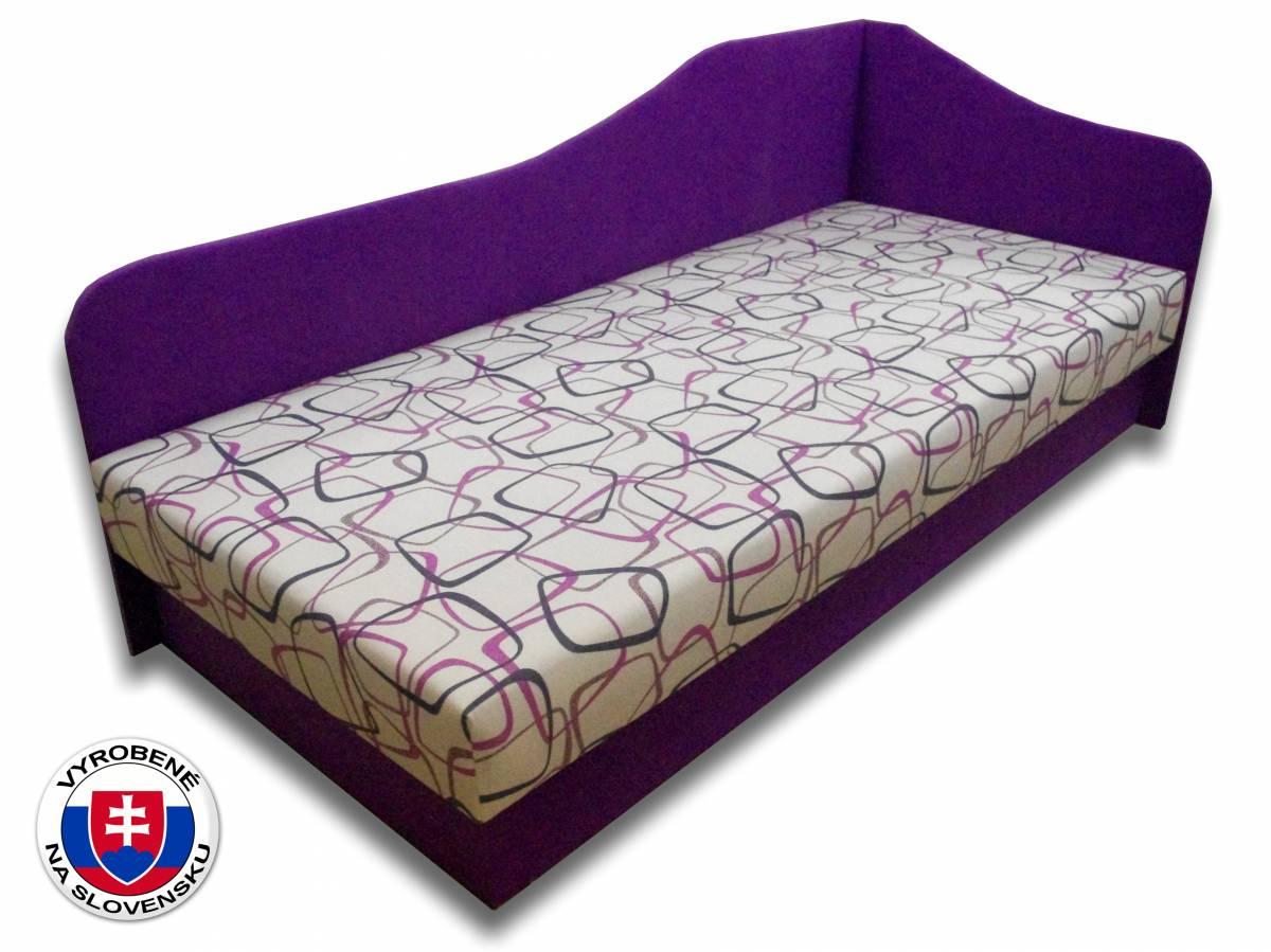 Jednolôžková posteľ (váľanda) 80 cm Lux 87 (Fialová 49 + Dodo 1058) (P)