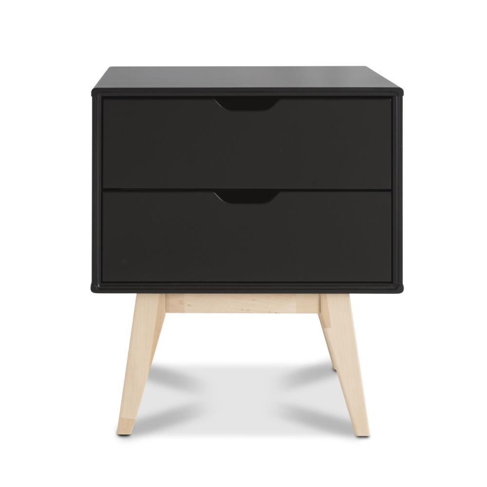 Čierny ručne vyrobený nočný stolík s 2 zásuvkami z masívneho brezového dreva KiteenKolo