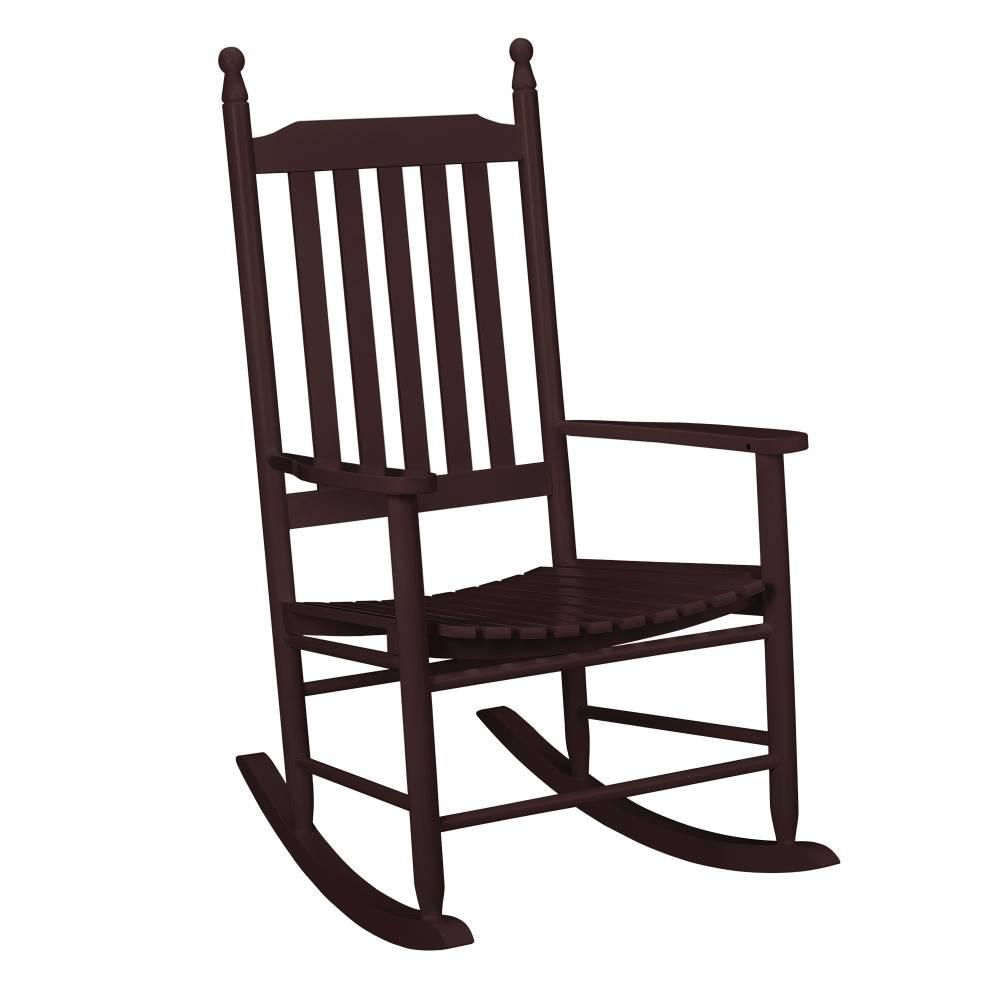 [casa.pro]® Pohodlná drevená hojdacia stolička - 115 x 62 x 84 cm - tmavo hnedá