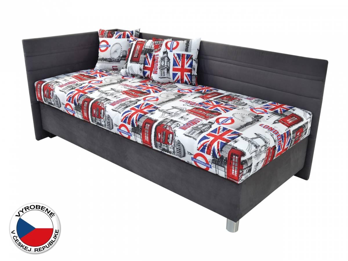 Jednolôžková posteľ 90 cm Blanár Polly (biela + sivá) (s roštom a matracom) (L)