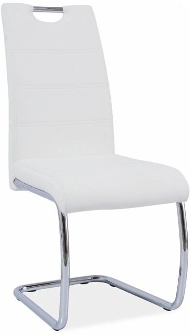 Jedálenská stolička, ekokoža biela/chróm, ABIRA NEW