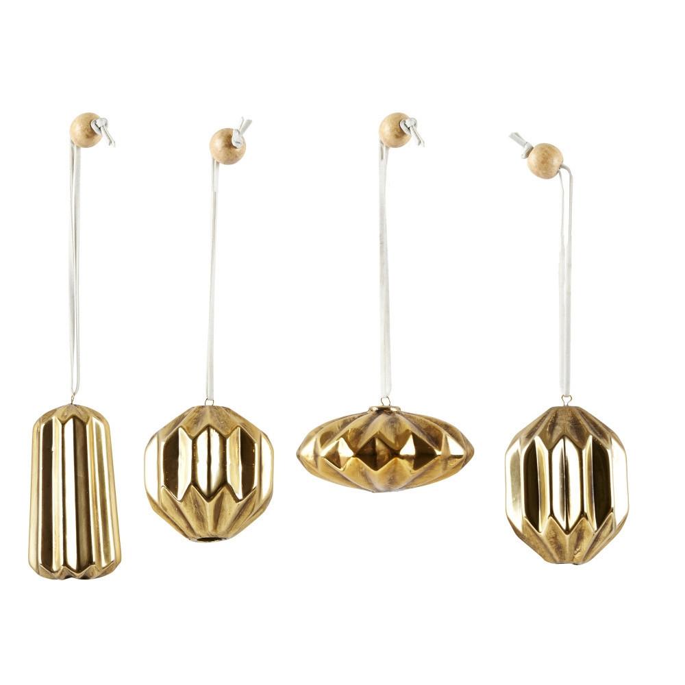 Sada 4 vianočných dekorácií KJ Collection Ceramic Gold