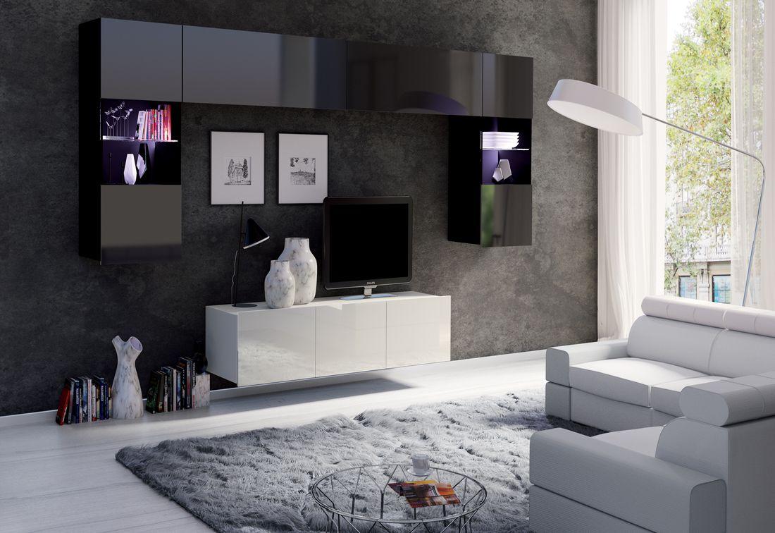 Obývacia zostava BRINICA NR2, čierna/čierny lesk + biela/biely lesk + biely LED
