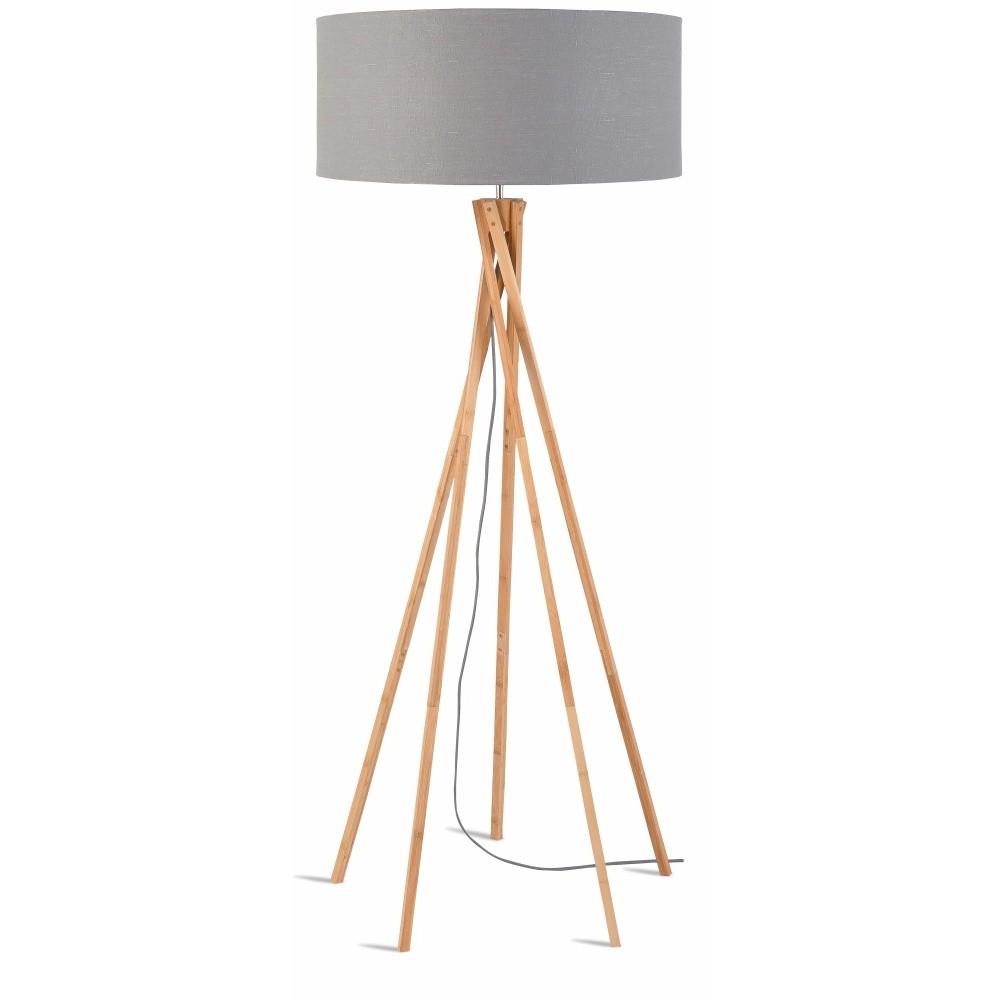 Stojacia lampa so svetlosivým tienidlom a konštrukciou z bambusu Good&Mojo Kilimanjaro
