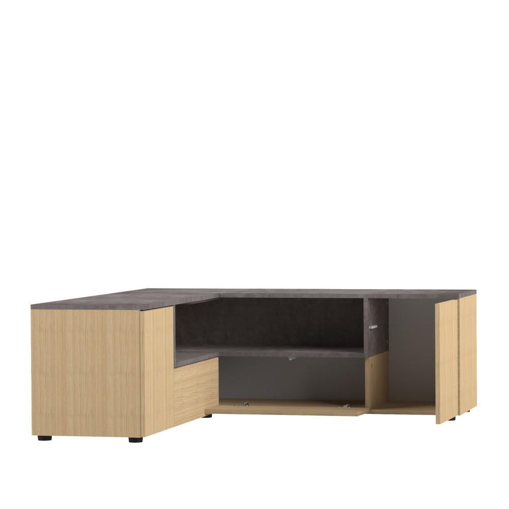 TV stolík v dekore dubového dreva a betónu Symbiosis Angle