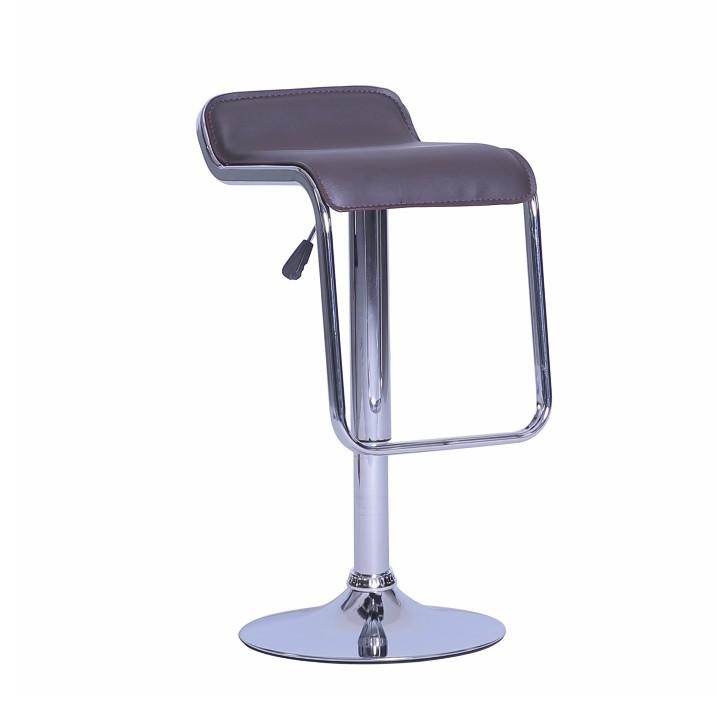 Barová stolička, ekokoža hnedá/chróm, ILANA