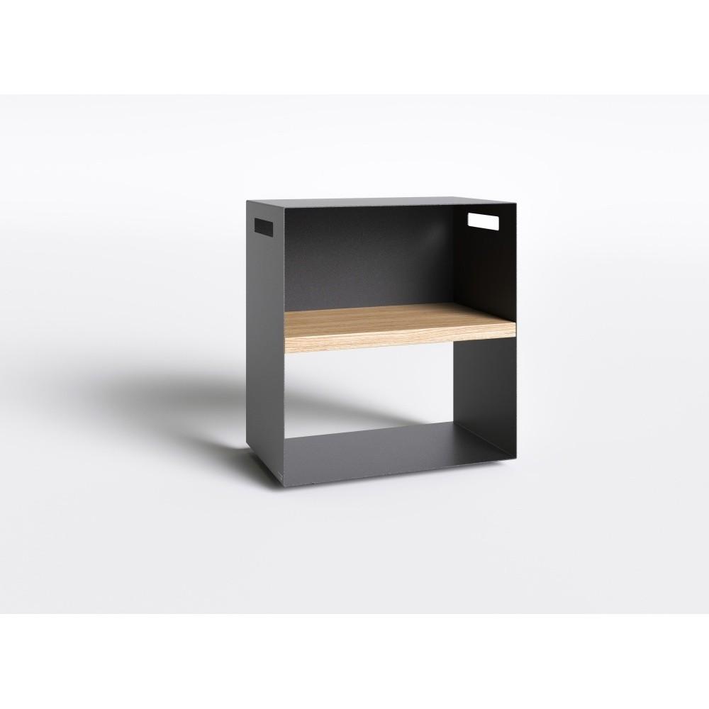 Čierny nočný stolík s doskou z dubového dreva Take Me HOME, 50×30cm