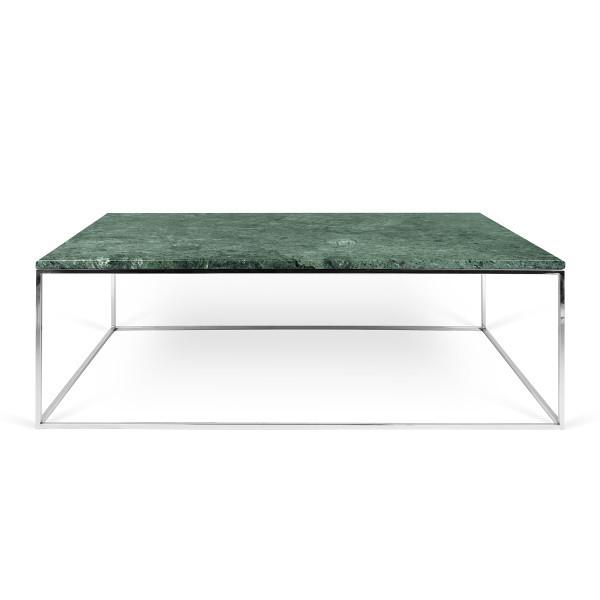 Zelený mramorový konferenčný stolík s chrómovými nohami TemaHome Gleam, 120cm
