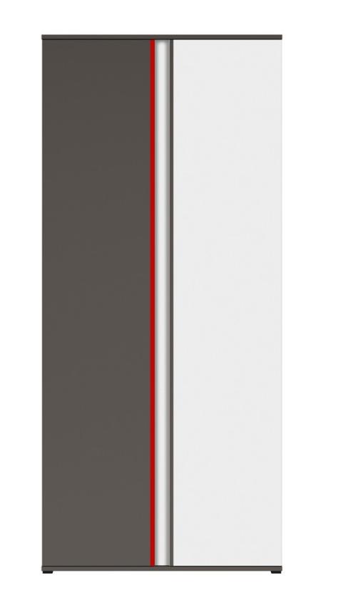 Šatníková skriňa Graphic SZF2D/C   Farba: sivý wolfram / biely / červený