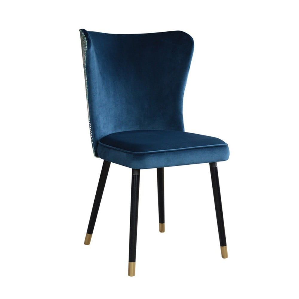 Modrá jedálenská stolička s detailmi v zlatej farbe JohnsonStyle Odette Eden