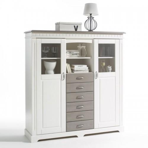 Biely nábytok Komoda Costa vitrína 2D /6S, dekor biela /starošedá, masív, borovica