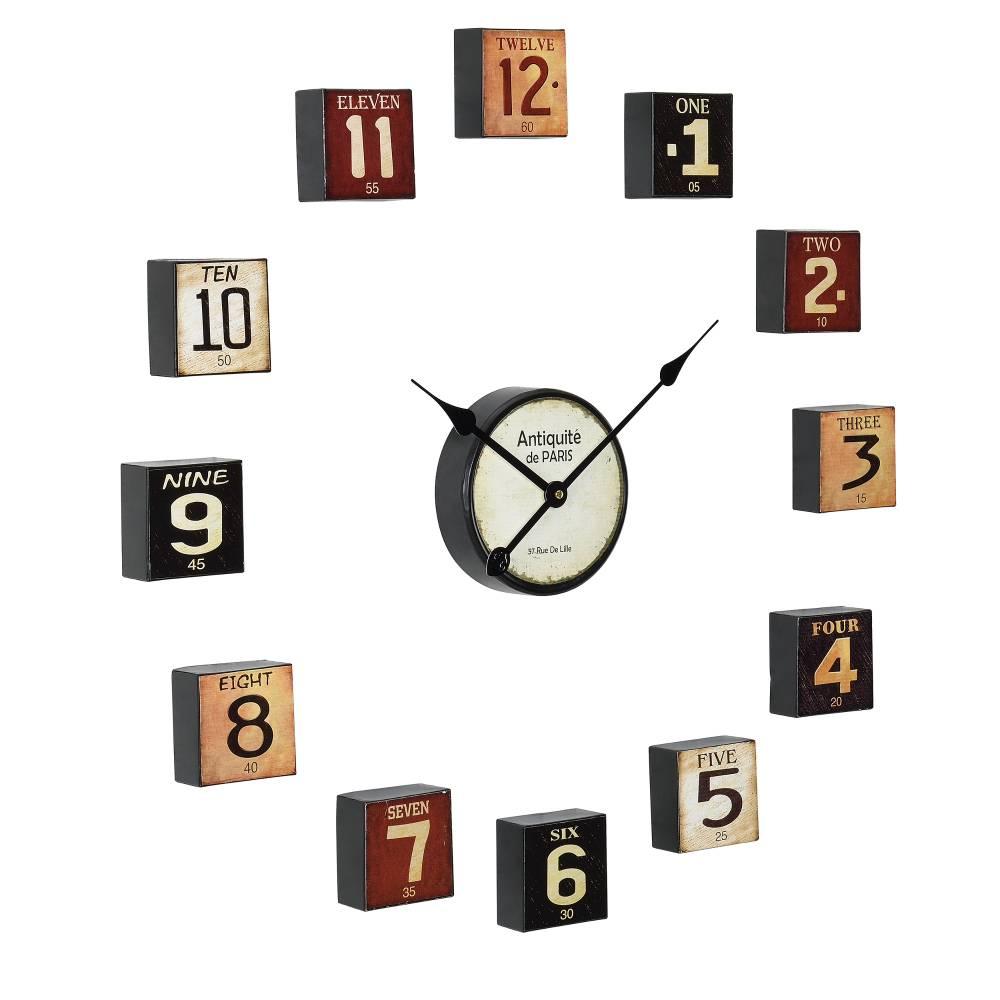 [en.casa]® Nástenné hodiny - viacdielne – analógové - farebné – 68 x 4 x 68 cm