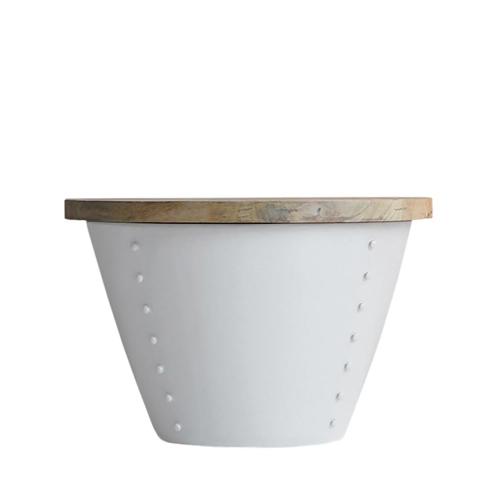 Biely príručný stolík s doskou z mangového dreva LABEL51 Indi, Ø 60 cm