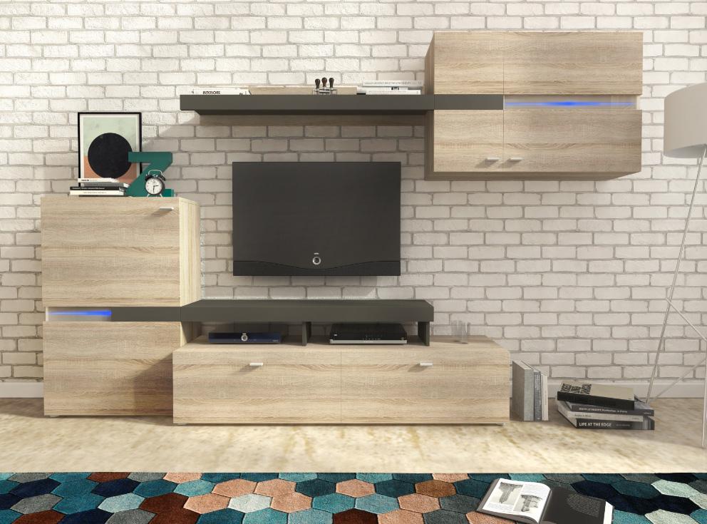 Lacná obývacia stena ZET dub sonoma
