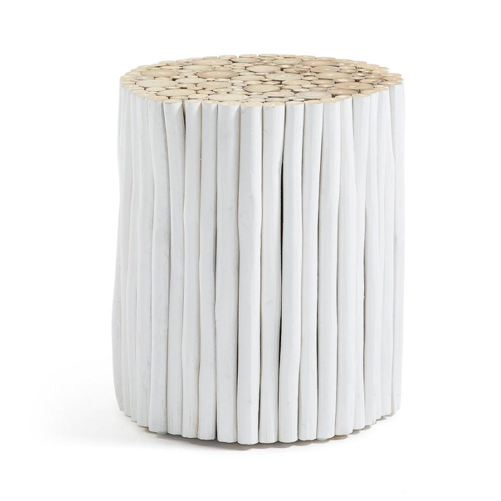 Biely taburet z teakového dreva La Forma Filippo, ⌀35cm
