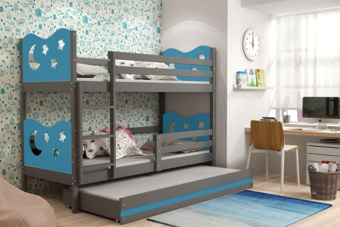 Poschodová posteľ KAMIL 3 + matrac + rošt ZADARMO, 90x200, grafit/blankytná