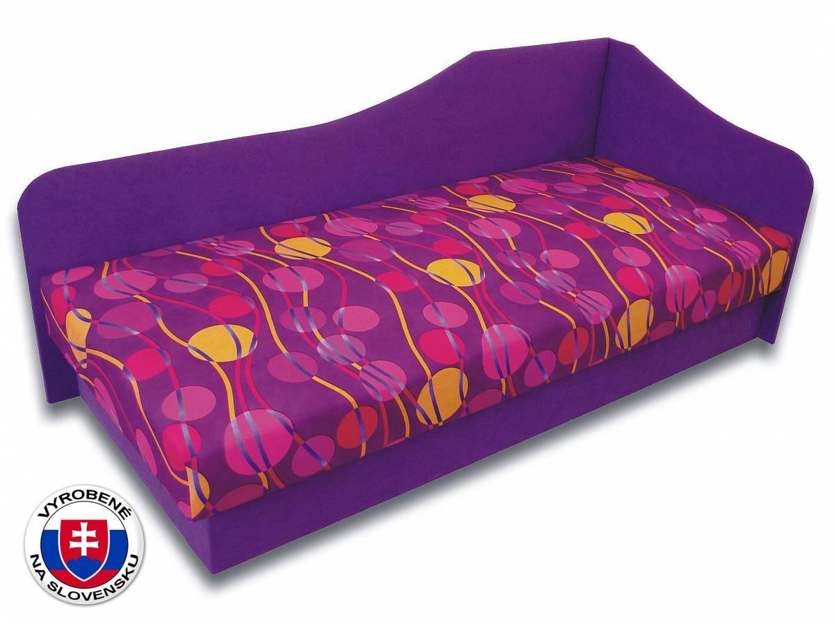 Jednolôžková posteľ (váľanda) 80 cm Lux 87 (Fialová 49 + Ikarus 43) (P)