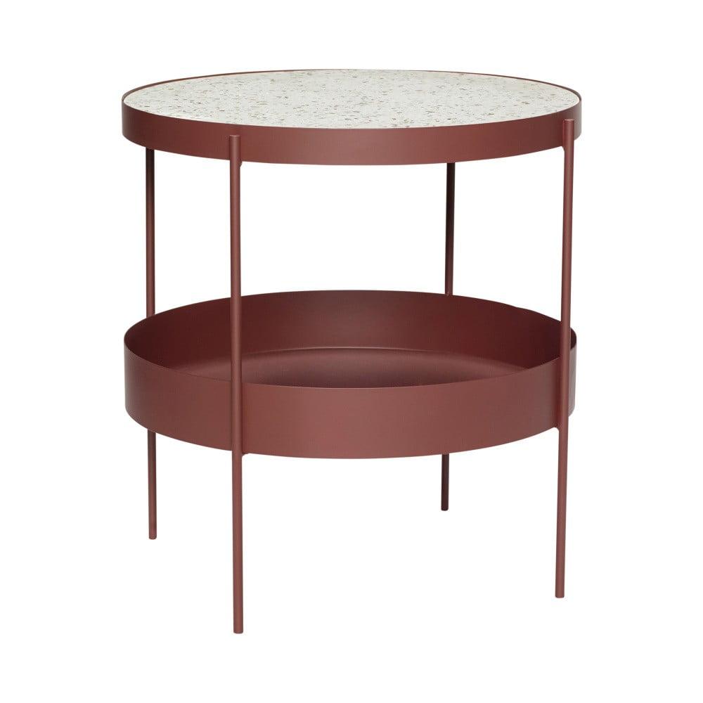 Tmavočervený železný odkladací stolík s mramorovou doskou Hübsch Perro