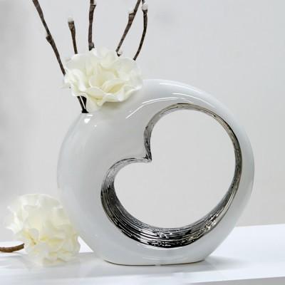 Váza LOVE - biela, strieborná