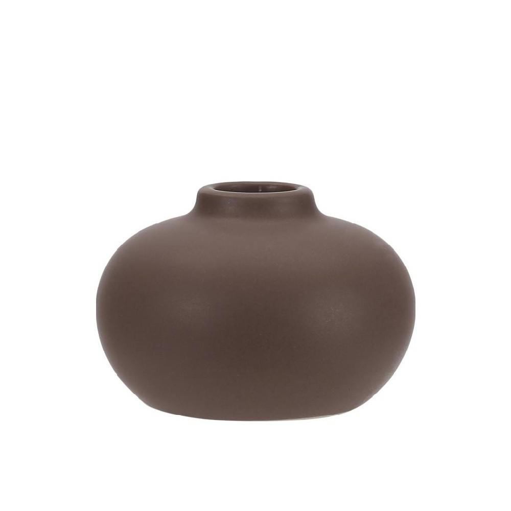 Hnedý kameninový svietnik A Simple Mess Telma, ⌀ 8,5 cm