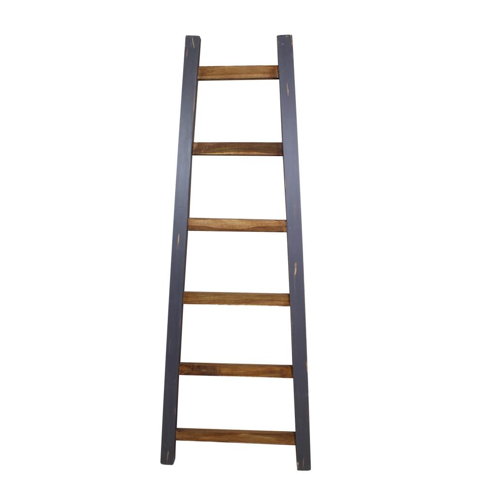 Sivý dekoratívny rebrík z teakového dreva HSM Collection Tangga, 150cm