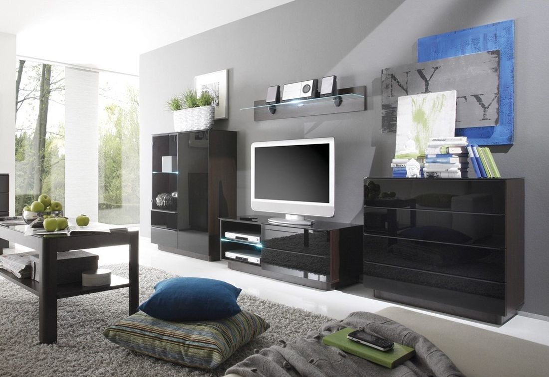 Obývacia zostava WOMO TG I- presklená komoda, komoda RTV malá, konf.stolík, polička krátka , komoda, wenge/čierny lesk