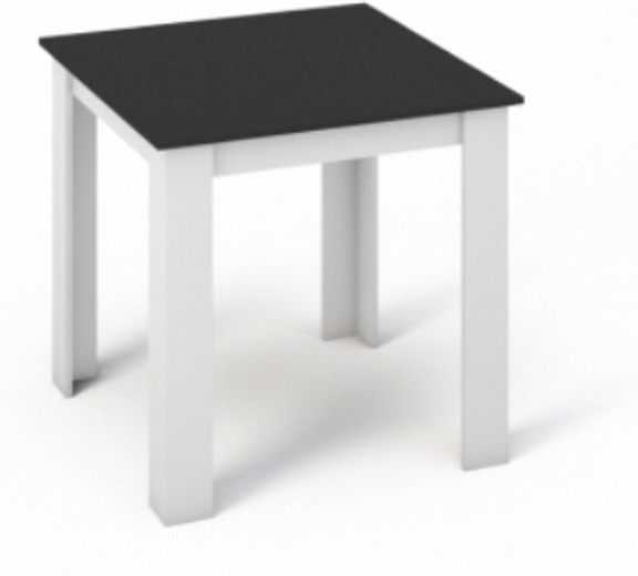 Jedálenský stôl 80x80, DTD laminovaná/ABS hrany, Biela/Čierna, KRAZ