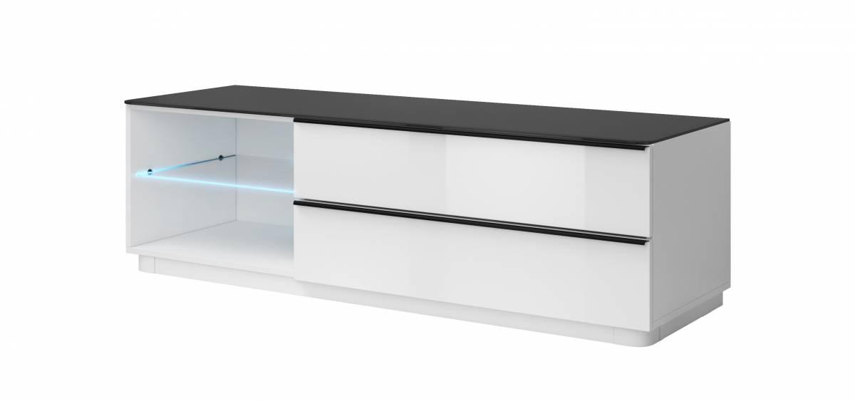 TV stolík/skrinka Typ 40 (biela + čierne sklo)