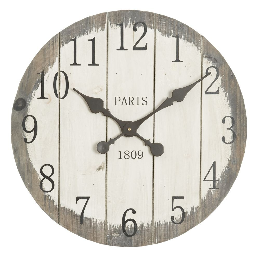 Nástenné drevené hodiny Clayre & Eef Country Time, ⌀50 cm