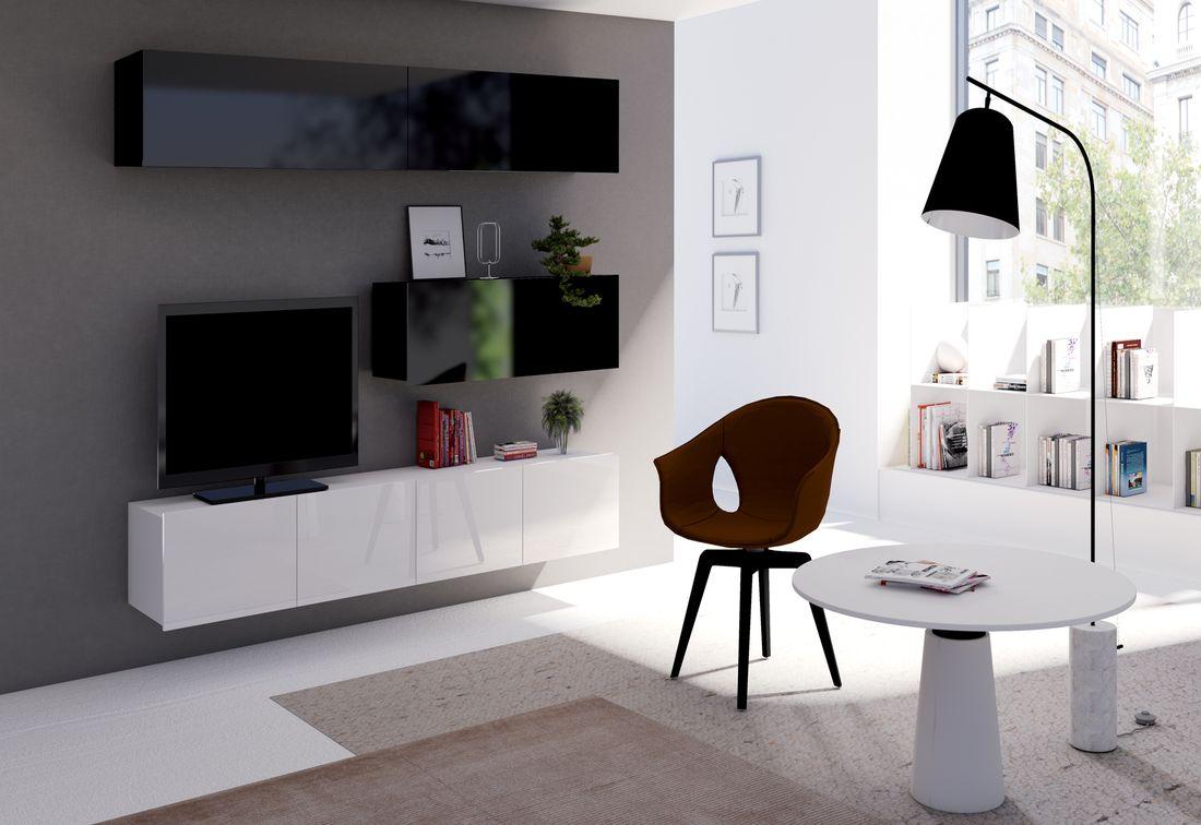 Obývacia zostava BRINICA NR8, čierna/čierny lesk + biela/biely lesk