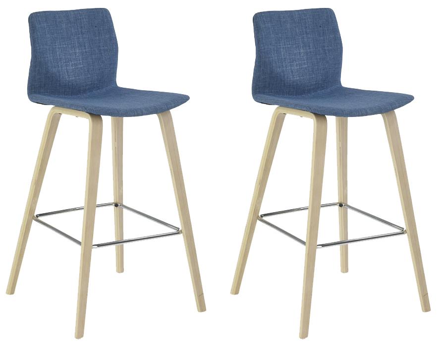 Set 2ks. barových stoličiek H-80 (tyrkysová + buk) *výpredaj