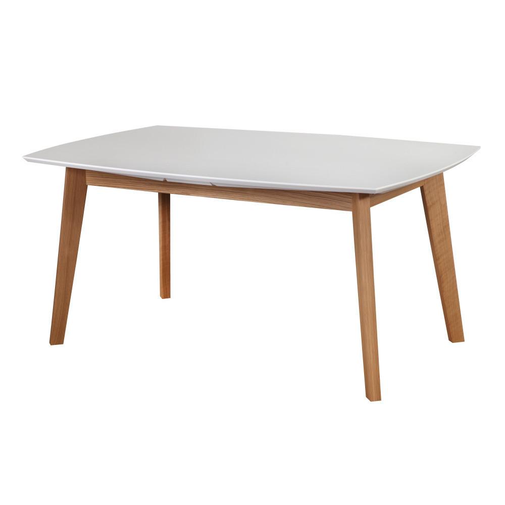 Biely rozkladací jedálenský stôl Dřevotvar Ontur 35, 160 x 100 cm