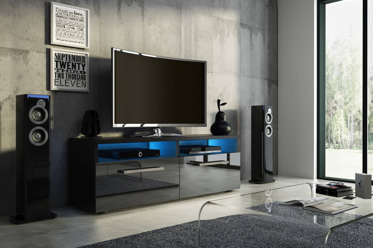 TV stolík/skrinka Bonn (čierny lesk + čierna matná)