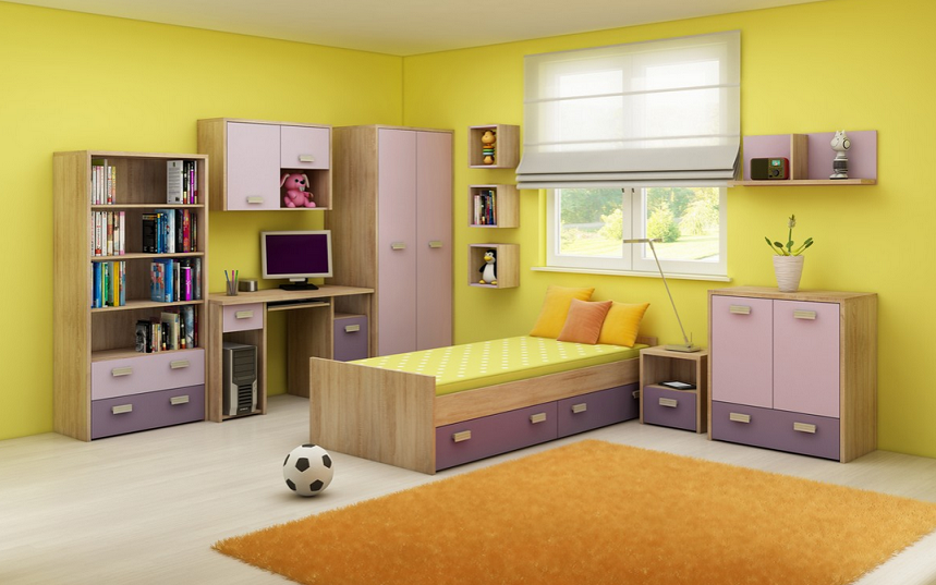 Detská izba KITTY 2   Farba: Dub sonoma svetlá / levanduľa / fialová