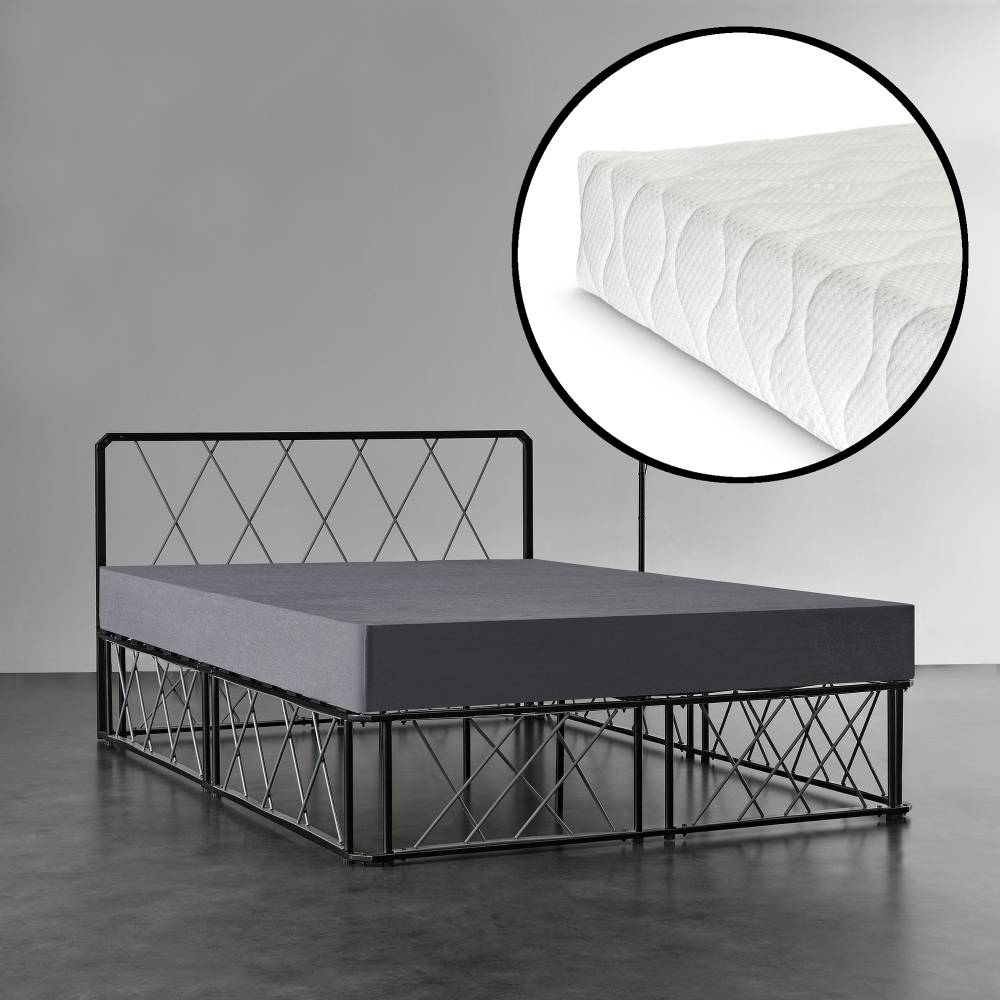 d9782bd3cbb8  en.casa ® Kovová manželská posteľ - 140 x 200 cm - čierna