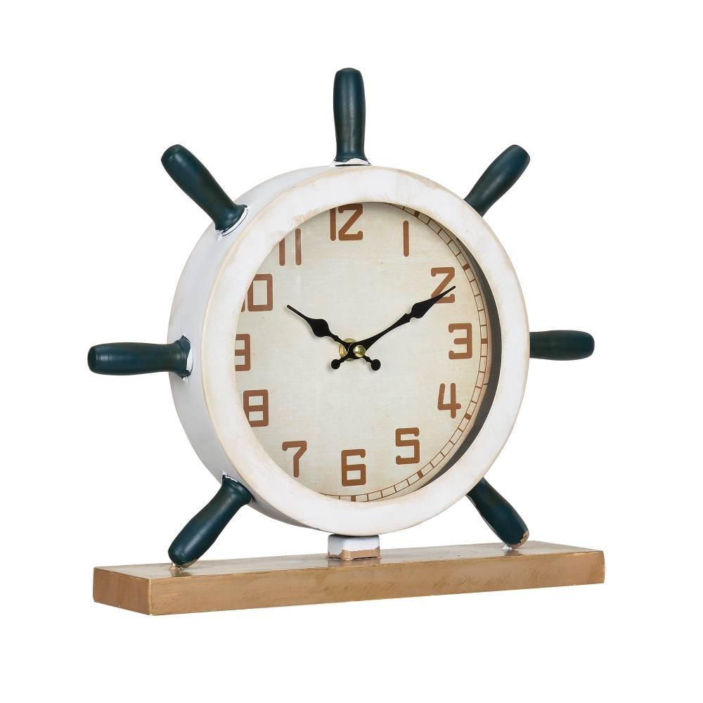 [en.casa]® Stolové hodiny v tvare kormidla - analógové - 34 x 8 x 32 cm - farebné - sklo