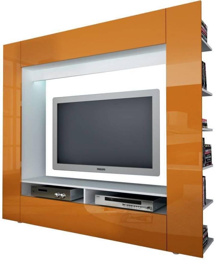 Televízna stena OLLI biela / lesklá oranžová