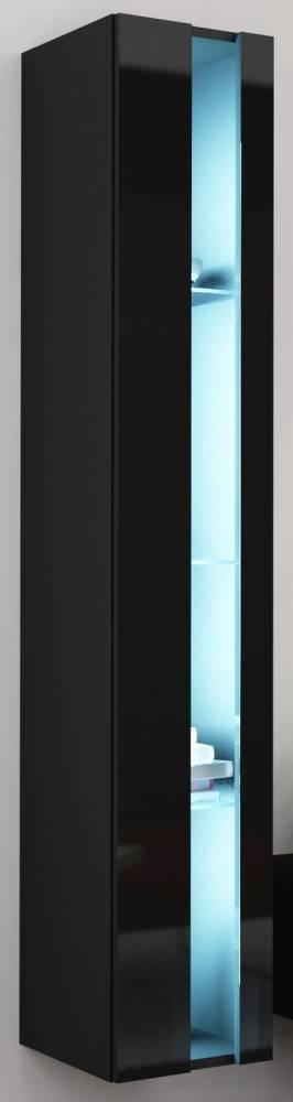 Vitrína na stenu Vigo 180 otvorená LED čierna (s osvetlením)