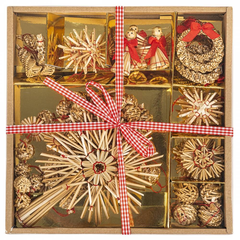Slamené ozdoby na vianočný stromček, 27 ks