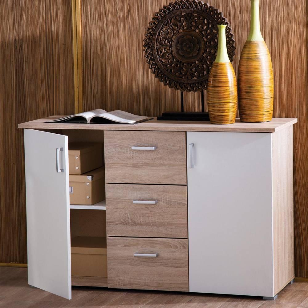 Prádelník - 2 dveře + 3 zásuvky 324316 dub/bílá