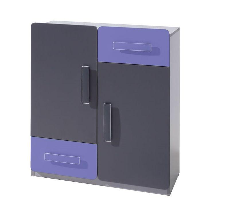 Komoda FIGARO 2D2SZ, 91x80x42 cm, grafit/fialová