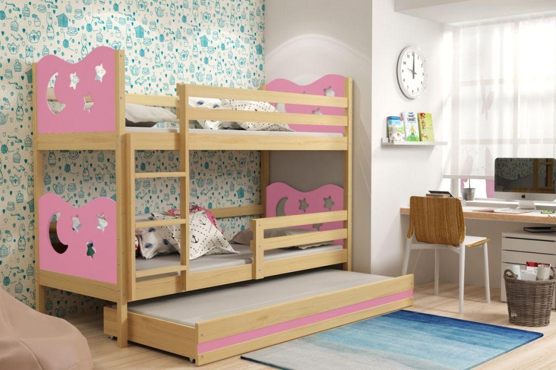 Poschodová posteľ KAMIL 3 + matrac + rošt ZADARMO, 90x200, borovica/ružová