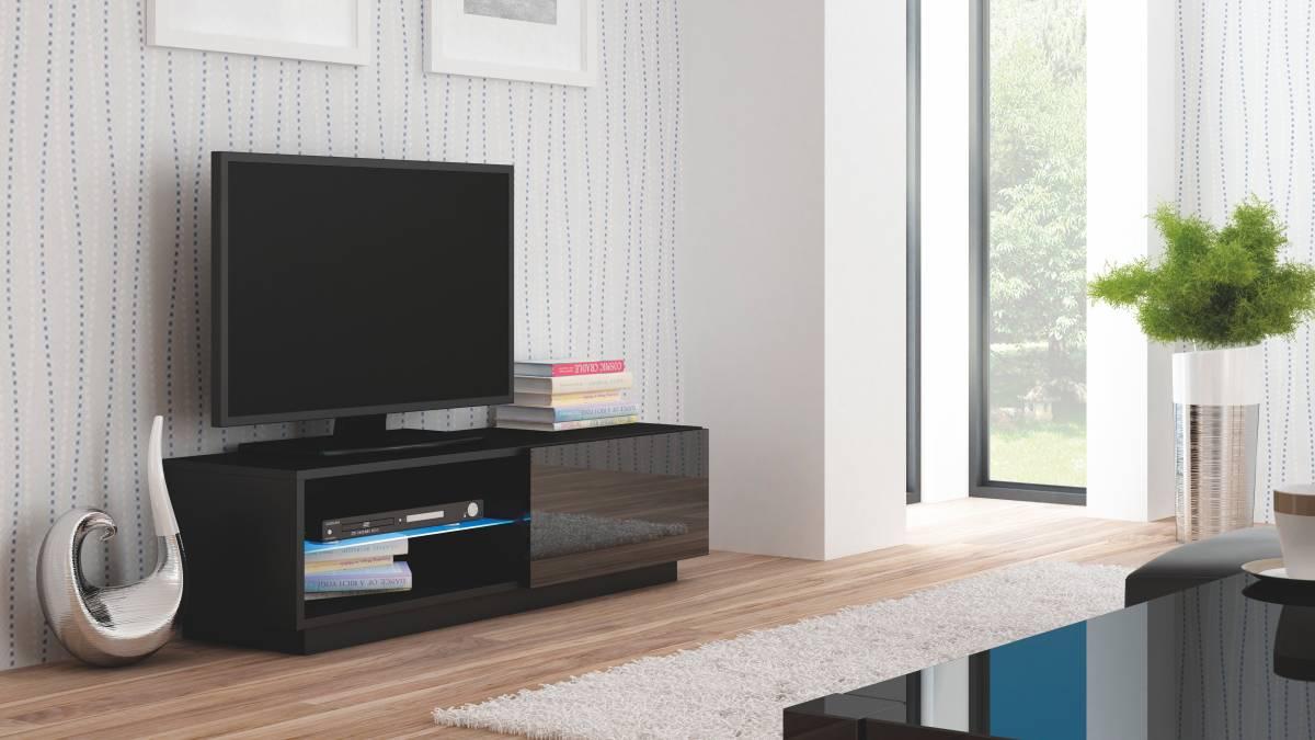 TV stolík/skrinka Livo RTV-120S (čierna + lesk čierny)
