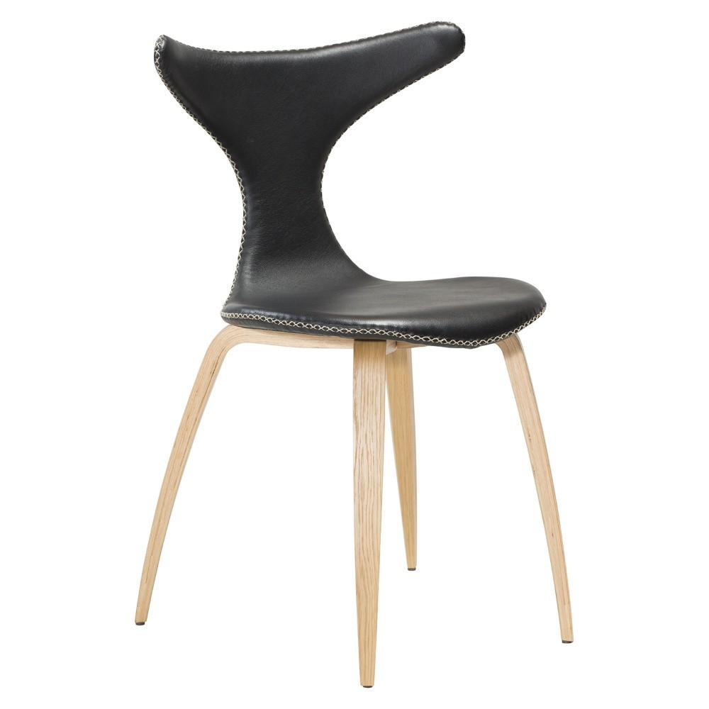 Čierna kožená jedálenská stolička so svetlou prírodnou podnožou DAN–FORM Dolphin
