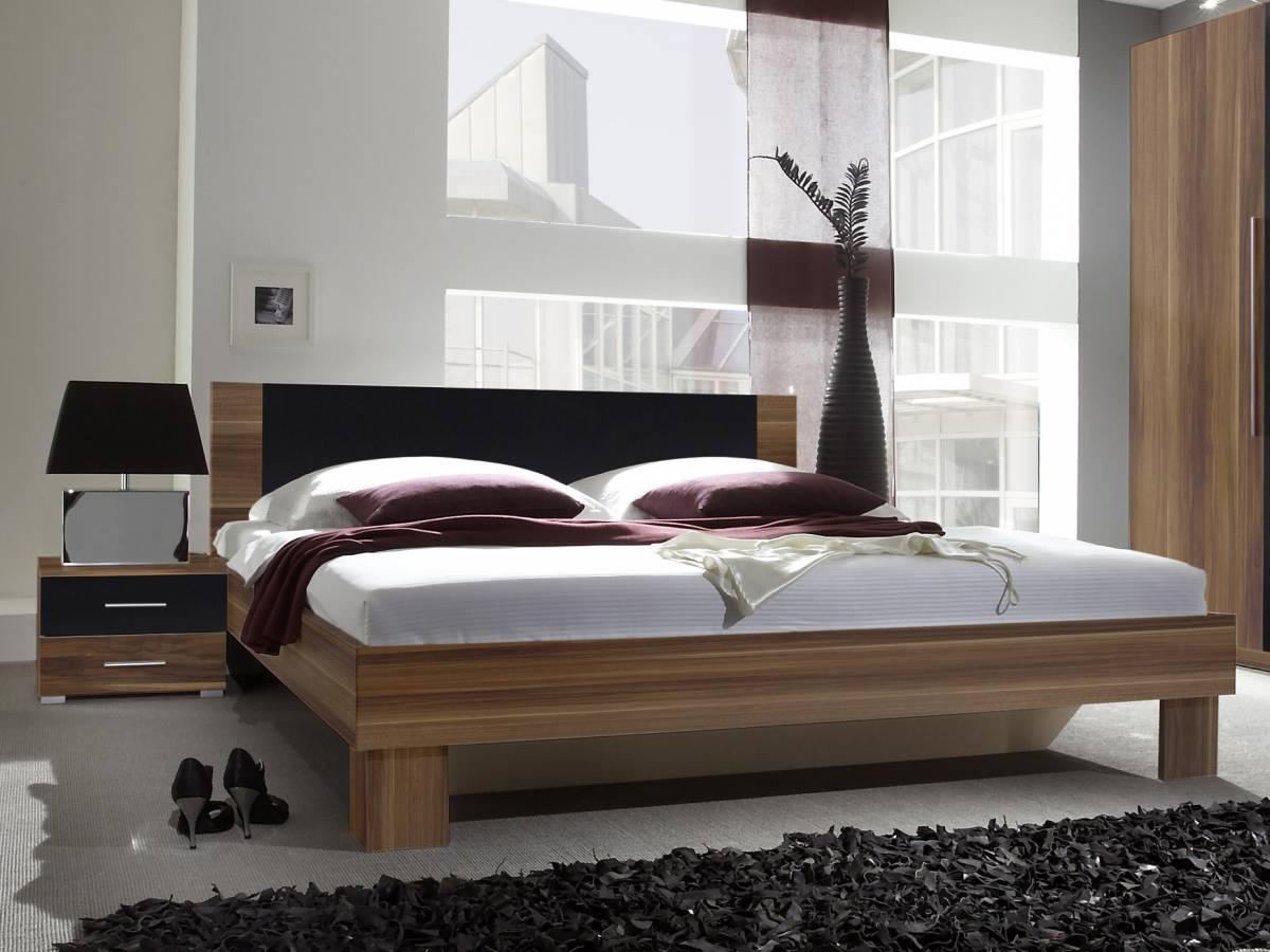 Manželská posteľ 180 cm Typ 52 (orech + čierna) (s noč. stolíkmi)